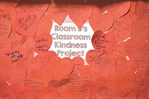 Red hearts record acts of kindness done by first-graders in teacher Perry Langley's class at St. Mary Cathedral School in Lafayette. (Photo by Caroline B. Mooney)