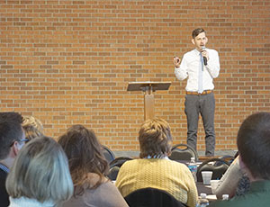 """What gifts right now is the Lord calling you to use?"" guest speaker Matt Faley asks. (Photo by Caroline B. Mooney)"