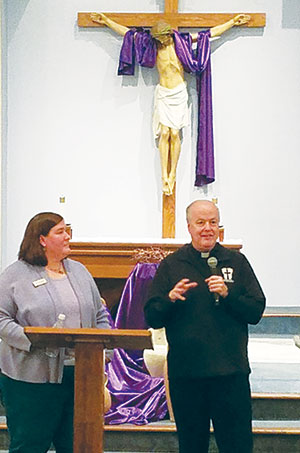 Father Dan Gartland, pastor of Holy Spirit Parish in Fishers, and Megan McGuire, CEO of Ascent 121. (Photo by Brigid Curtis Ayer)